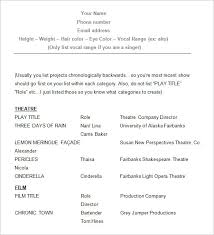 Actors Resume Template Acting Resume Exle Opulent Ideas Acting Resume Exles 10 10