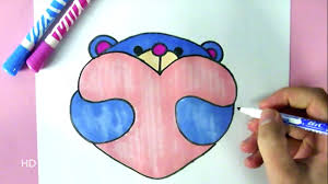 how to draw a cute teddy bear with a love heart easy drawing