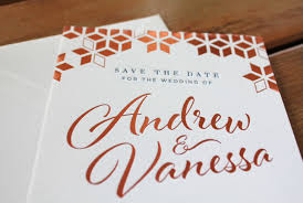 Foil Wedding Invitations Little Peach Copper U0026 Navy Foil U0026 Letterpress