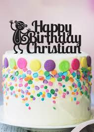 monkey cake topper cake topper personalize cake topper monkey birthday cake topper