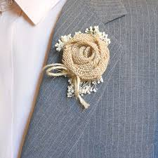 burlap boutonniere country burlap boutonniere groom from papernlace on etsy