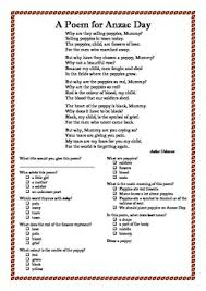 a comprehension sheet to accompany a simple anzac day poem by an