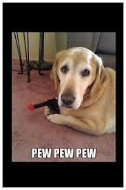 Pew Pew Pew Meme - dog meme with gun pew pew pew 2 x3 flexible fridge magnet ebay