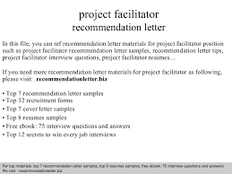 Facilitator Resume Sample by Project Facilitator Recommendation Letter