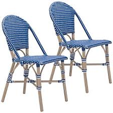 White Outdoor Dining Chairs Zuo Paris Navy Blue And White Outdoor Dining Chair Set Of 2