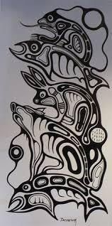 native american art northwest fine art totem art salmon and