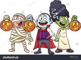 cartoon halloween picture cartoon halloween kids trick treating vector stock vector
