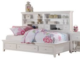 Bookcase Beds With Storage Trixie White Big Bookcase Storage Bed Transitional Kids Beds
