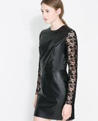 Leather And Lace Clothing Zara Lace Faux Leather Dress In Black Lyst