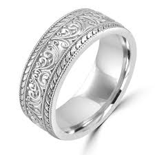 carved wedding band 14k white gold unique nouveau carved wedding band wedding