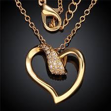 womens gold pendant necklace images Women 39 s 24k yellow gold rose gold color pendant necklace heart jpg