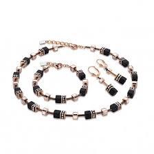 black rose bracelet images Coeur de lion geo cube black rose gold necklace bracelet jpg