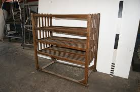 1700090 wooden slatted shelving unit h 129cm x 122 x 61