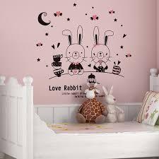 chambre lapin mignon lapin de dessin animé chambre de bébé stickers muraux chambre