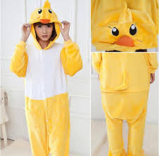2018 sweet yellow duck kigurumi pajamas animal suits