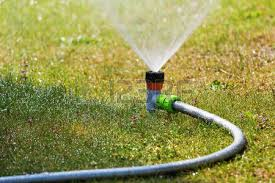 garden irrigation system watering lanw stock photo picture and