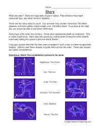 stars worksheet constellations