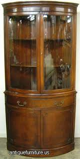 antique mahogany curved glass corner china cabinet at antique