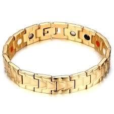 magnetic bracelet gold plated images Men 39 s 14k gold plated stainless steel magnetic bracelet jpg