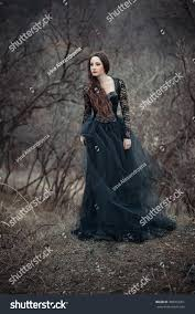 halloween dark background beautiful long hair standing black stock photo 388363351