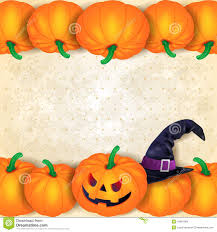 pumpkin halloween background halloween background with borders of pumpkins and hat stock vector