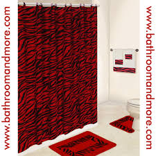 lush red zebra print bathroom set comes complete with fabric comes complete with fabric shower curtain rings three towels bath mat and contour rug