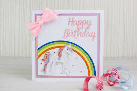 create a birthday card how to make a die cut unicorn birthday card hobbycraft
