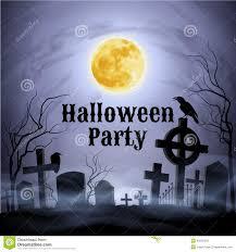halloween party on a spooky graveyard under full moon stock vector