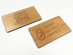 wood business cards laser engraved on alder maple or mahagoany