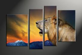 4 piece lion wildlife yellow huge pictures
