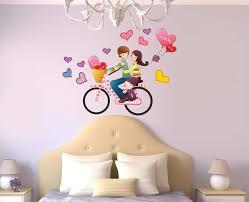 Fleur De Lis Wall Stickers Wall Stickers Romantic Couple Bike Travel Decoration Hangings Home