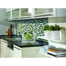 Green Kitchen Tile Backsplash Smart Tiles Murano Verde 10 20 In W X 9 10 In H Peel And Stick