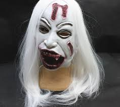 1pc horrible toothy white long hair ghost face mask halloween