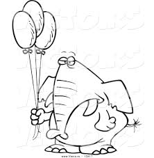 vector of a cartoon grumpy elephant holding balloons coloring