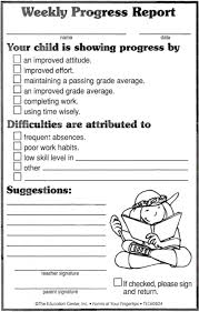 academic progress report template weekly progress report ideas school classroom