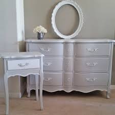 bedroom dresser and end table set in a seagull gray and snow white