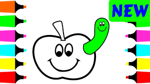 coloring pages apple and worm for kids drawing and painting