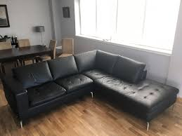 Leather Corner Sofa For Sale by Natuzzi Leather Corner Sofa Black Reduced Price In Newhaven