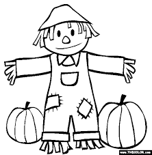 coloring page of fall fall scarecrow and pumpkins coloring page coloring book pages