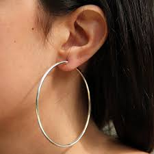 hoop earrings sterling silver continuous hoop earrings 2 5 inch walmart