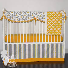 Yellow And Gray Crib Bedding Set And Grey Flower Gender Neutral Baby Crib Bedding Set