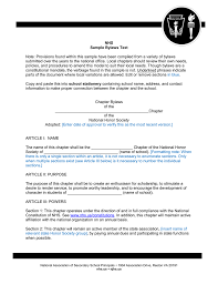 sample bylaws text national honor society and national junior