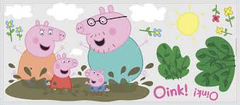 peppa pig family muddy puddles wall decals