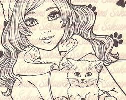 kitten stamp etsy