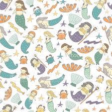 Mermaid Fairy Cute Hand Drawn Doodle Mermaid Fairy Tale Seamless Pattern Stock