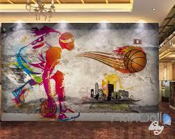 3d basketball illustrated sports art wall paper mural decals print 3d basketball illustrated sports art wall paper mural decals print decor idcwp mx 000088