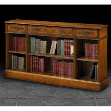 furniture home yew wood narrow long open bookcase design modern
