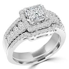 halo wedding rings images Multi stone princess cut diamond halo engagement ring setting and jpg