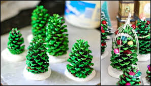 Mini Christmas Tree Crafts - mini christmas tree made from pine cones craft projects for