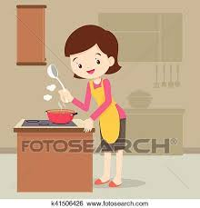 cuisine clipart clipart femme cuisine dans cuisine k41506426 recherchez des